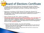 board of elections certificate