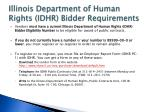 illinois department of human rights idhr bidder requirements