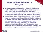 examples from erie county ctc pa
