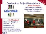 feedback on project descriptions