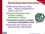 goals expected outcomes
