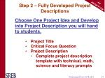 step 2 fully developed project descriptions