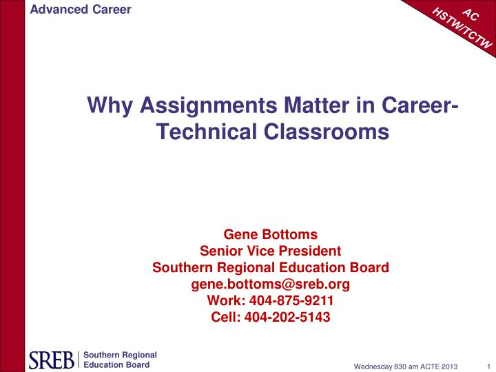why assignments matter in career technical classrooms n.