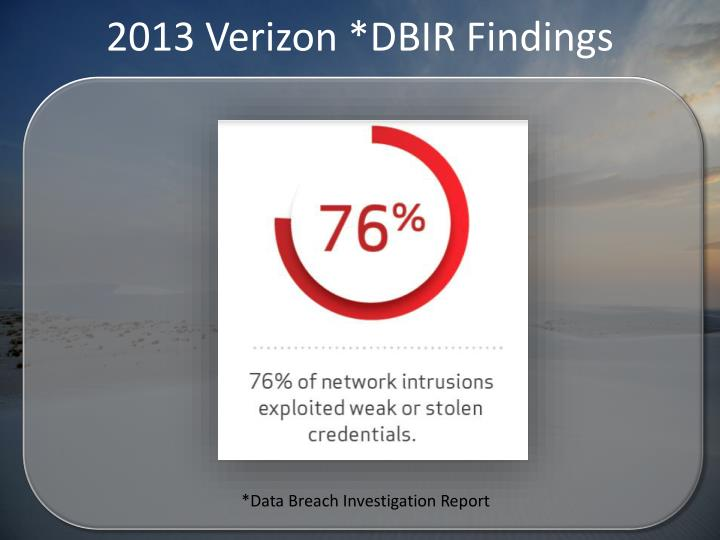 2013 Verizon *DBIR Findings