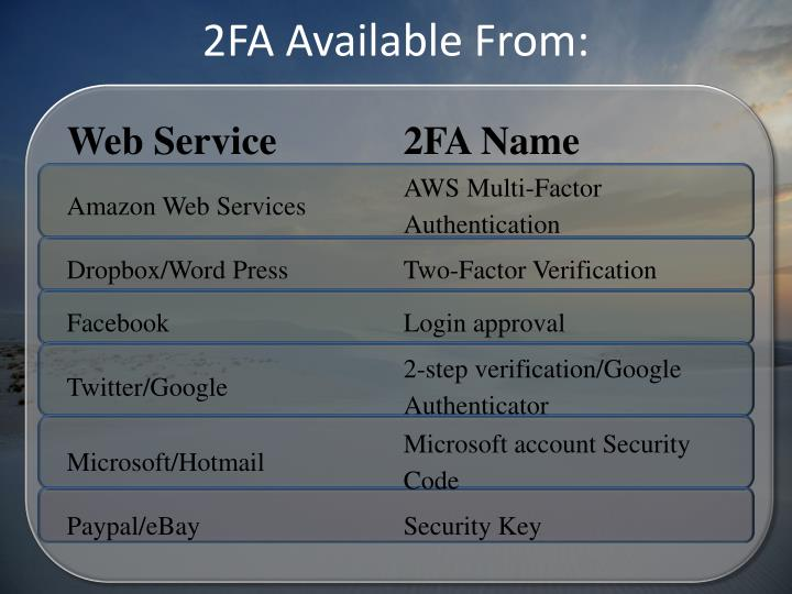 2FA Available From: