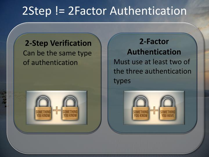 2Step != 2Factor Authentication