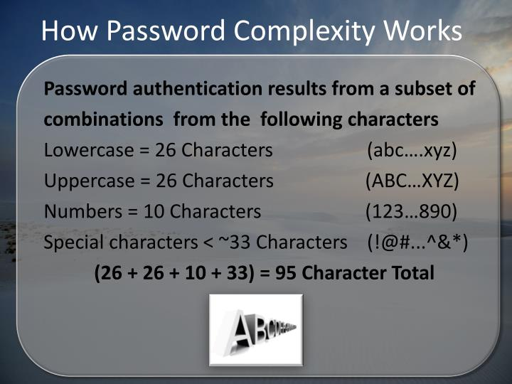 How Password Complexity Works