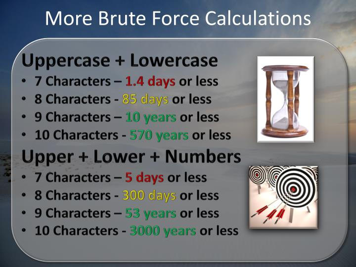 More Brute Force Calculations