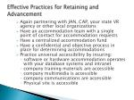 effective practices for retaining and advancement