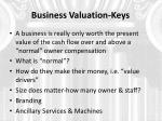 business valuation keys