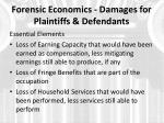 forensic economics damages for plaintiffs defendants1