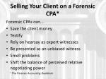 selling your client on a forensic cpa