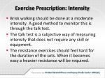 exercise prescription intensity
