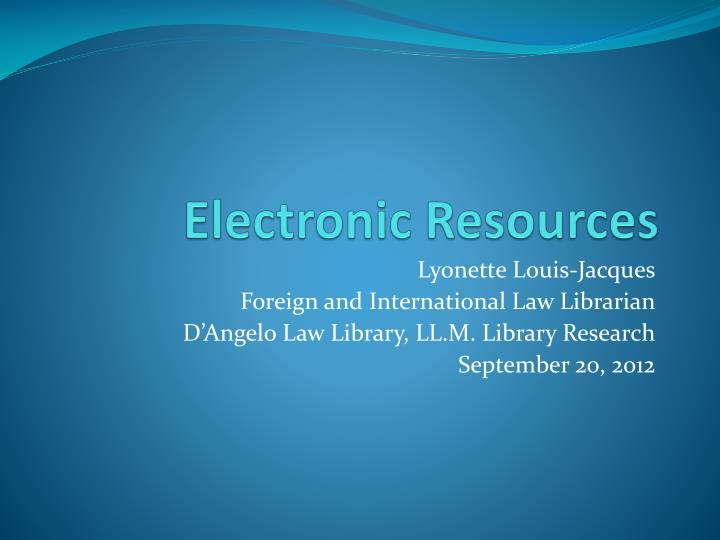 electronic resources n.