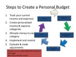 steps to create a personal budget