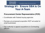 strategy 1 ensure sba is o n your a team