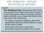 the three r s relief recovery reform