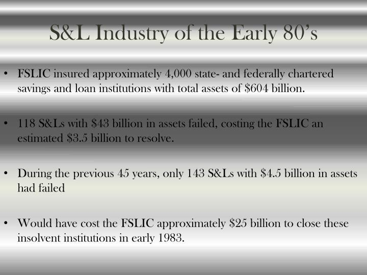 S&L Industry of the Early 80's