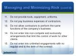 managing and minimizing risk cont d1