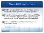 more dol initiatives