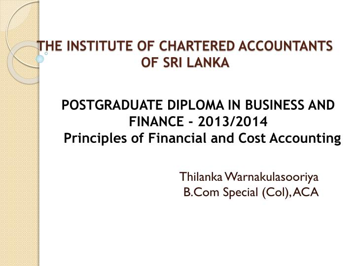 the institute of chartered accountants of sri lanka n.