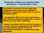 numerosity distance and magnitude effect phenomena psychophysical laws