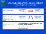 effectiveness of u s policy options stimulating the u s economy