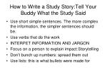 how to write a study story tell your buddy what the study said