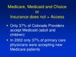 medicare medicaid and choice or insurance does not access