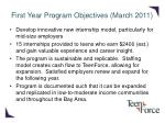 first year program objectives march 2011
