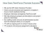 how does teenforce promote success
