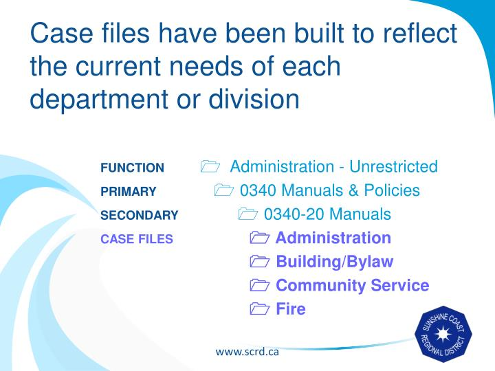 Case files have been built to reflect the current needs of each department or division