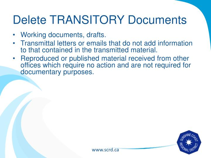 Delete TRANSITORY Documents