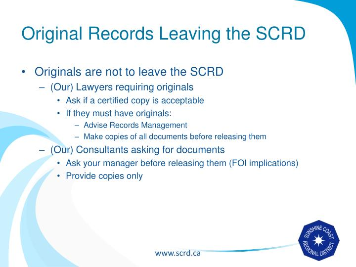 Original Records Leaving the SCRD