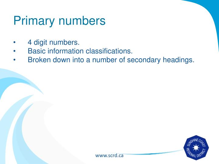 Primary numbers
