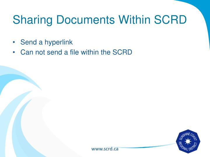 Sharing Documents Within SCRD