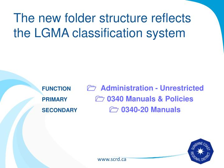 The new folder structure reflects the LGMA classification system