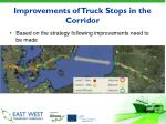 improvements of truck stops in the corridor