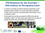its solutions for the corridor information on occupancy level