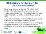 its solutions for the corridor location information