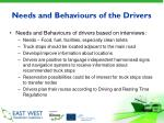 needs and behaviours of the drivers
