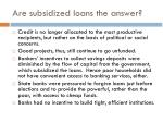 are subsidized loans the answer1