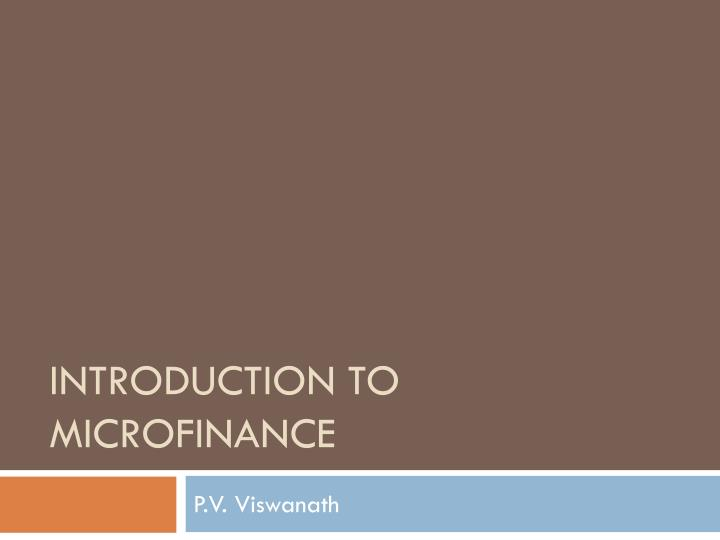 introduction to microfinance n.