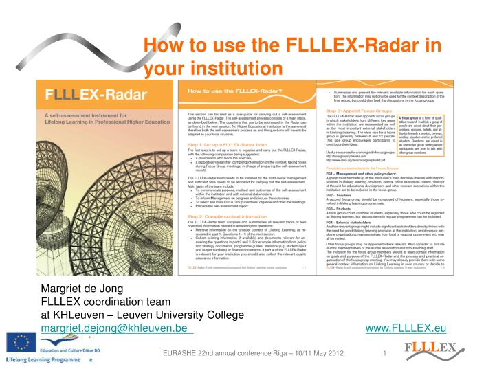 how to use the flllex radar in your institution n.
