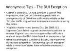 anonymous tips the dui exception