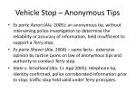 vehicle stop anonymous tips