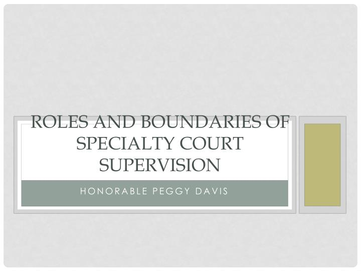 roles and boundaries of specialty court supervision n.