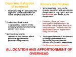 allocation and apportionment of overhead