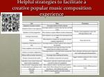 helpful strategies to facilitate a creative popular music composition experience