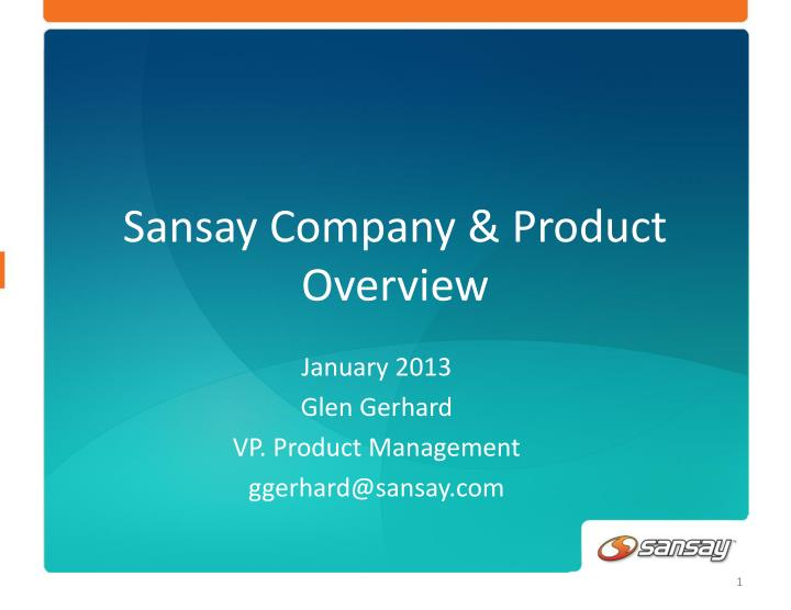 sansay company product overview n.